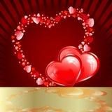 Röd design med hjärtor stock illustrationer
