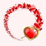 Röd design med hjärtor royaltyfri illustrationer