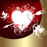 Röd design med hjärtor och kupidonet royaltyfri illustrationer