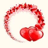 Röd design med två hjärtor royaltyfri illustrationer