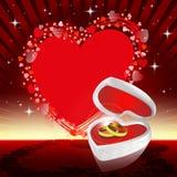 Röd design med vigselringar royaltyfri illustrationer