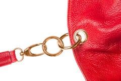 Röd detalj för läderpåse Royaltyfria Bilder