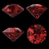 Röd diamant på svart Arkivbilder