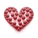 Röd diamanthjärta med den snabba banan Royaltyfri Foto
