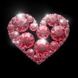 Röd diamanthjärta - som isoleras med den snabba banan vektor illustrationer