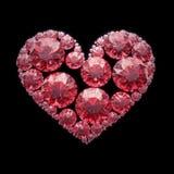 Röd diamanthjärta - som isoleras med den snabba banan Arkivbilder