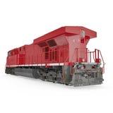 Röd diesel- lokomotiv på vit isolated rear view white 3D illustration, snabb bana Arkivfoton
