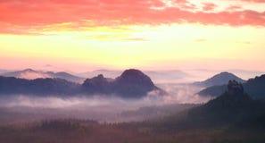 Röd dimmig landskappanorama i berg Fantastisk drömlik soluppgång på steniga berg Dimmig dimmig dal under Royaltyfri Bild
