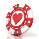 Röd dobblerichip med hjärtatecknet på det Arkivfoton