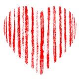 Röd dragen gjord randig hjärta för grunge som hand göras av borsteslaglängder Bekymrad grov scharlakansrött band Symbol av den fö stock illustrationer