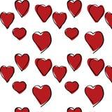 Röd dragen modell för hjärtor hand Arkivbilder