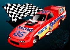 Röd Dragster tävlings- bil med den rutiga flaggan Arkivbild