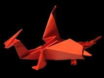 Röd drake för origami som isoleras på svart 2 Arkivbild