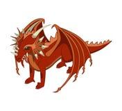 Röd drake vektor isometriskt Arkivbilder