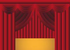 Röd draperad etappgardin med etappen Fotografering för Bildbyråer