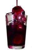 Röd drink i ett exponeringsglas med iskuber Fotografering för Bildbyråer