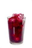 Röd drink i ett exponeringsglas med iskuber Royaltyfri Foto