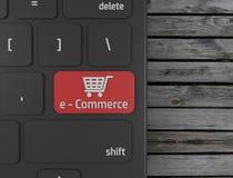 Röd E-kommers knapp på datortangentbordet 3d att framföra vektor illustrationer