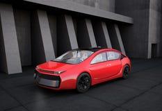 Röd elbil framme av geometrisk objektbakgrund stock illustrationer