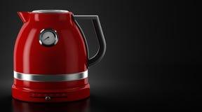 Röd elektrisk kokkärl på svart bakgrund stock illustrationer