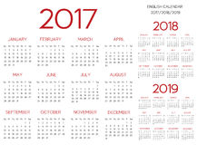 Röd engelsk vektor för kalender 2017-2018-2019 Royaltyfria Foton