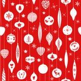 Röd enkel jul klumpa ihop sig för skandinavisk nordisk stil för ferieberömmar Jul leksaker för nytt år seamless royaltyfri illustrationer
