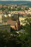 Röd evangelikal kyrka av John Amos Comenius i Brno royaltyfri fotografi