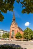 Röd evangelikal kyrka av John Amos Comenius i Brno. royaltyfri fotografi