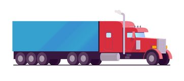 Röd färg för amerikansk lastbil för rigg stor med en blå släplast utformar den tjänste- begreppslägenheten för leveransen och för Royaltyfri Bild