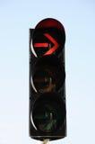 Röd färg på trafikljuset Arkivbild