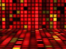 Röd färgrik modell som göras ut ur ljusa kuber Arkivbild