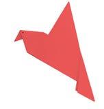 Röd fågel för origami som isoleras över vit Royaltyfria Bilder