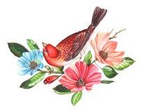 Röd fågel på blommafilialer Hand dragen vattenfärgmålning på vit bakgrund Inklusive snabb bana Illustration för att hälsa c royaltyfri illustrationer