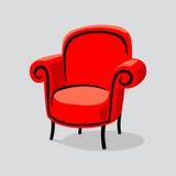 Röd fåtölj Fotografering för Bildbyråer