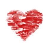 Röd förälskelsehjärta som isoleras på vit Fotografering för Bildbyråer