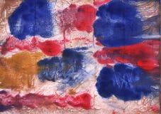 Röd för abstrakt begreppvattenfärg för blå brunt målning Royaltyfria Foton