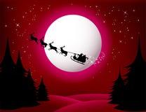 röd för sleighvektor för s santa version Royaltyfria Bilder