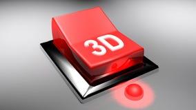 röd för strömbrytare 3D tolkning 3D PÅ - Royaltyfria Foton
