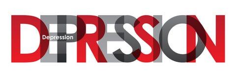 Röd FÖRDJUPNING och överlappande bokstavsbaner för grå färger royaltyfri illustrationer