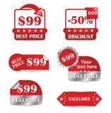 röd försäljningsset för etiketter Royaltyfri Fotografi