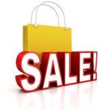 Röd försäljningstext med den gula shoppingpåsen Royaltyfria Bilder