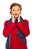 röd förvånad kvinna för omslag Arkivfoton