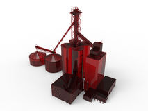 Röd fabrik för djur matning för lantgård royaltyfri illustrationer