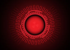 Röd faracirkel av cybercrimen i teknologibakgrund Royaltyfria Foton