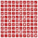 röd fastställd grunge för 100 åhöraresymboler Royaltyfria Foton
