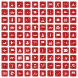Röd fastställd grunge för 100 Asien symboler Royaltyfri Bild