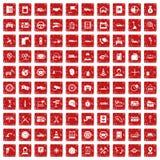röd fastställd grunge för 100 auto symboler för tjänste- mitt Royaltyfri Bild