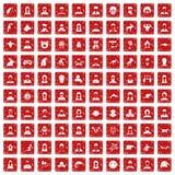 röd fastställd grunge för 100 avatarsymboler Royaltyfri Bild