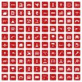 röd fastställd grunge för 100 branschsymboler Fotografering för Bildbyråer