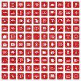 röd fastställd grunge för 100 cybersäkerhetssymboler Royaltyfri Fotografi